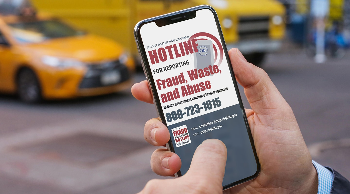 State Fraud, Waste, and Abuse Hotline Poster on an iPhone